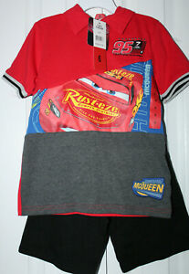 NWT Disney Pixar Cars Size 6 Shirt And Shorts Outfit Set ~ Lightning McQueen