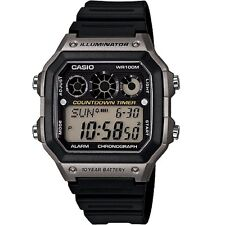 Casio Ae-1300wh-8a Water Resistant Light Stopwatch Black Resin World Time Watch