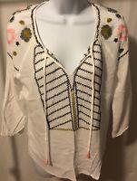 Ellison Brand Women's Blouse Size L Long Sleeve Sheer Floral Print White Color