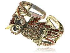 Retro Golden Topaz Crystal Rhinestone Owl Bird Bracelet Bangle Cuff Party Gift