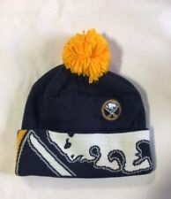 Buffalo Sabres Knit Beanie Toque Winter Hat Cap NHL NEW Big Logo Cuffed Pom