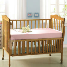 100% Pure Silk Cot Bed Sheet 132x70x20 Pink Baby Crib Fitted Sheets Allergy Free