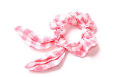 Pink&White Checked Scrunchie/Retro Hair Band Chic Wired Top Bow New Trend(S622)