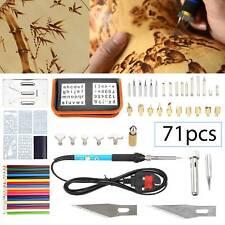 71Pcs Wood Burning Pen Tool Soldering Stencil Iron Craft Set Pyrography Kit UK
