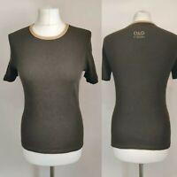 D&G Dolce Gabbana Women Top Tshirt Brown Short Sleeve Blogger Crew Neck 90' L 14