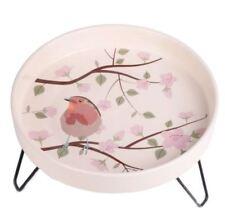 NEW Ceramic Garden Bird Bath UK with Frame Robin Design Frost Proof 30cmx30cm