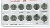 1992 Canadian Brilliant Uncirculated 125 Years Commemorative Twelve Quarters Set