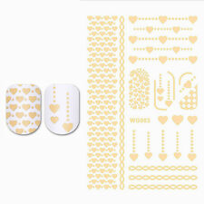 Gilding Water Decal Gold Heart Nail Art Manicure Transfer Sticker DIY WG003