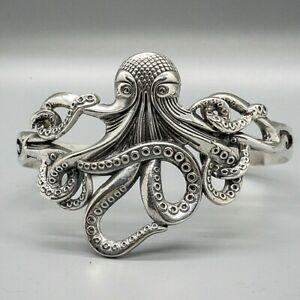 Kraken Sea Monster 925 silver bangle torc celtic Octopus Tentacle Pirate Biker