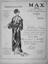 PUBLICITÉ DE PRESSE 1909 MANTEAU FOURRURE DE RENARD PORTÉ PAR CÉCILE SOREL