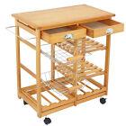 Wooden Kitchen Utility Island Cart w/ Shelves Drawers Trolley Storage Rack