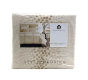 Hotel Collection Mosaic Grid Embroidered FULL / QUEEN Duvet Cover - BRAND NEW