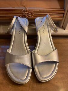 Kenneth Cole Reaction Silver Ankle Strap Platform Wedge Sandals 9M Prom Wedding