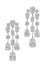 Pear Beautiful Party Dangles Earrings Cz 18ct 925 Sterling Silver inspired White