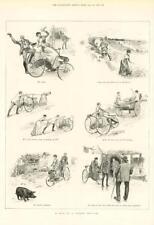 1891-antica stampa illustrazioni Tour su un triciclo TANDEM Bici Uomo Donna (216)