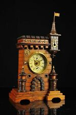 Antique German Mantel Alarm Clock in the Style of a CASTLE/MUSICBOX approx.1900