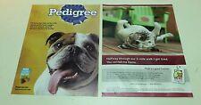 Lot of 2 Near Mint Print Ads Posters Bulldogs Pedigree Dogfood VPI Pet Tag