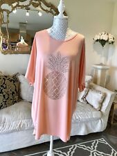 Embellished Pineapple T-shirt Tunic Top Crystal Diamante