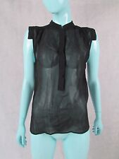 ** BY MARLENE BIRGER ** BLACK SHEER TOP BLOUSE - Size 34 (UK 8) AUTHENTIC