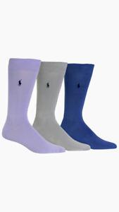 Polo Ralph Lauren Men's Super Soft Flat Knit 3 pack Socks, 10-13, Multi-Color