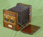 Rare Fallowfield Stereo Tailboard Half Plate Camera Mahogany Brass c. 1880