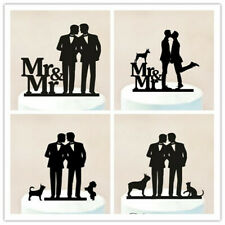 Gay Mr and Mr Same Sex with Dog Cat Wedding Cake Topper Party Decorations