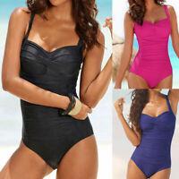 Women One Piece Monoki Push Up Padded Bikini Suit Swimsuit Backless Beachwear US
