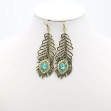 Fashion Crystal Rhinestone Peacock Bronze Feather Dangle Hook Jewelry Earrings