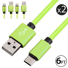 2X USB-C Type-C 3.1 Nylon Braided Data Sync FAST Charger Charging Cable Cord 6FT