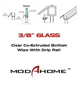 "3/8"" Frameless Shower Door Sweep Bottom Seal Wipe Drip Rail - FREE CUSTOM CUT"