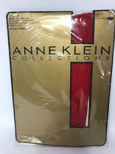 """New ANNE KLEIN Opaque Red CONTROL TOP PANTYHOSE Size A To 119 Lbs 5'6"""""""