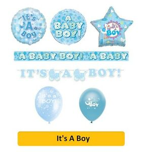 IT'S A BOY New BABY Shower Party Banners, Balloons, Napkins & Decorations