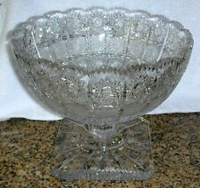 Bohemia Crystal QUEEN LACE Hand Cut Footed Compote Centerpiece Bowl Bohemian