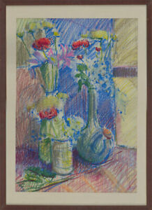 Gerald Roberts - Signed & Framed Contemporary Pastel, Vibrant Flower Composition