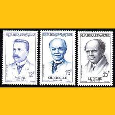 3 FRANCE - SERIE GRANDS MEDECINS 1958 - N° 1143 à 1145 - NEUFS **