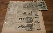 Vintage Baseball Clippings Los Angeles Dodgers Oakland A'S World Series Games