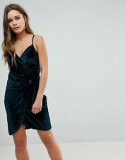 9f20b34eaece7 Parisian Velvet Cami Wrap Dress With Tie Green        B11A3
