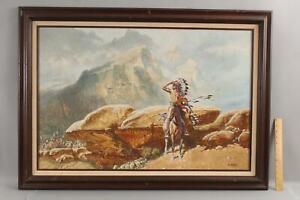 GERALD BOGARD Western California Native American Indian War Chief Oil Painting