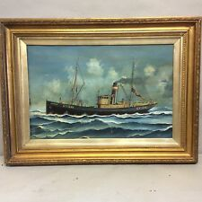"Oil Painting of Ship ""Sturton"" by G. Race 31"" X23"""