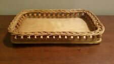 New listing Vintage Brown Bamboo Wicker Tray w/Detailed Gallery Very Nice ~ Indeed!