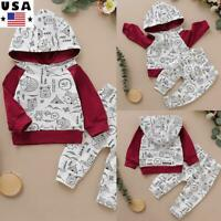 Toddler Baby Boys Outfits Set Clothes Printed Hoodie T-shirt Tops Long Pants US