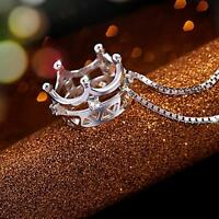 Princess Women Necklace Silver Plated Crown Pendant