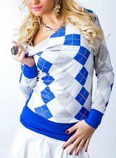 ♥ SeXy Miss Damen Shirt Karo Rauten Wasserfall Girly Long Top 34/36/38 blau NEU