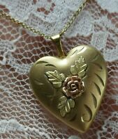 "HEART flower rose LOCKET 1/20th 14K tri GOLD FILLED 1"" w bale 17"" necklace A35"