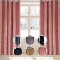 Luxury Crushed Velvet Curtain Pair Ready Made Fully Lined Eyelet Ring Top