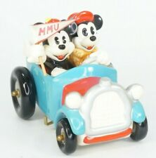Disney Schmid Mickey and Minnie Mouse Ceramic Car Music Box With MMU Flag