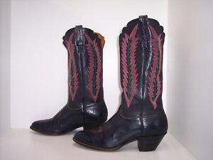 J. CHISHOLM Navy Blue Leather Western Scalloped Boots Women's Size 9.5 M