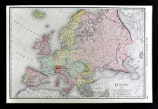1892 Rand McNally Map Europe Spain Italy France Germany Austria Russia - Large