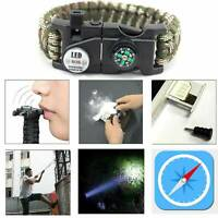Paracord Bracelet LED Flint Fire Starter Compass Whistle Knife Outdoor Camping*1
