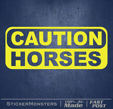 CAUTION HORSES COWBOY COUNTRY FLOAT Car Sticker Decal 320mmW Outback 4X4 BNS